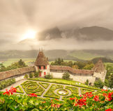 Castle Gardens. The gardens of castle Gruyeres in Switzerland royalty free stock photography