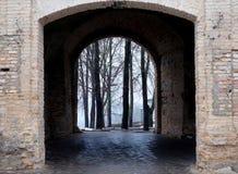 Castle gate, arch. Castle gate way, arch, brick doorway medieval stone, passage Stock Image