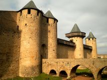 Castle Gate. Beautiful castle gate with towers and bridge stock photos