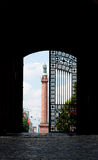 Castle Gate Darmstadt. View through the castle gate in Darmstadt Germany stock photo