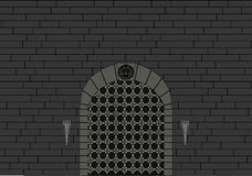 Castle Gate and grey brick wall royalty free illustration