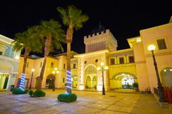 The castle gate of Il Mercato street, Sharm El Sheikh, Egypt. SHARM EL SHEIKH, EGYPT - DECEMBER 15, 2017: The exit from the Il Mercato shopping street is Royalty Free Stock Photography