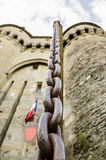 Castle gate metal chain detail. Stock Photography