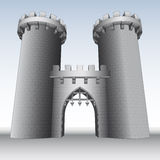 Castle gate with two towers  and sky  Royalty Free Stock Images