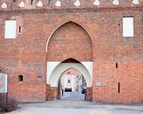 The castle gates arch. Tower, doorway medieval town stone, gate Stock Photo