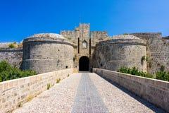 Castle Gates Rhodes Greece Stock Images