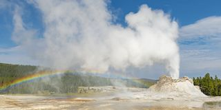 Castle Geyser with Eruption, Yellowstone stock image