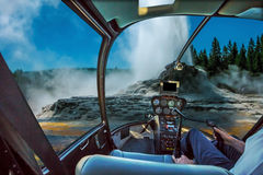 Castle Geyser Helicopter stock photos