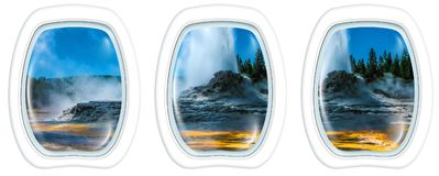 Castle Geyser Portholes. Three porthole frame windows on Castle Geyser erupting with hot water and steam pools of thermophilic bacteria. Cone geyser in Upper Stock Image