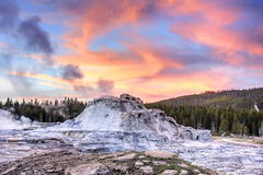 Castle Geyser at Sunset (Yellowstone) Stock Photo