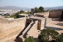 Castle Gibralfaro in Malaga, Spain. Ramparts of the castle Gibralfaro in Malaga, Andalusia Spain Royalty Free Stock Photo