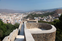 Castle Gibralfaro in Malaga, Spain. Ramparts of the Gibralfaro Castle in Malaga, Andalusia Spain Stock Photo
