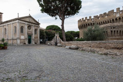 Castle of Giulio II in Ostia Antica Rome. Near archeological Site near the sea royalty free stock photos