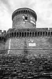 Castle of Giulio II Ostia Site Black and White Stock Image