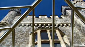 Castle glass roof conservatory. Photo of a conservatiry glass roof with view of castle Stock Photo