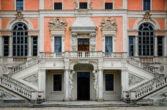 Castle of Govone Italy. Castle of Govone in Piedmont, Italy. Detail of the facade Royalty Free Stock Photo