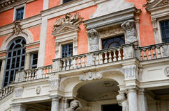 Castle of Govone Italy. Castle of Govone in Piedmont, Italy. Detail of the facade Royalty Free Stock Photography
