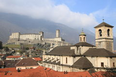 Castle Grande and Cathedral of Bellinzona Stock Photos