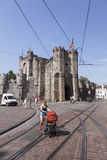 Castle Gravensteen and city life of Flemisch town of Ghent in Be Royalty Free Stock Images