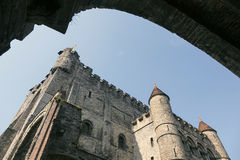 Castle Gravensteen in Ghent seen from entrance Stock Image