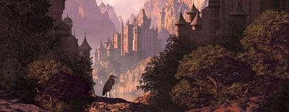 Castle And The Great Blue Heron. A mountainous canyon landscape with gothic castles, lake and a great blue heron Royalty Free Stock Images