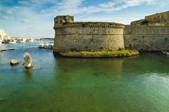 Castle in the green. The Castle of Gallipoli, located in Apulia, a region in the south of Italy Royalty Free Stock Images