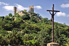 Castle of Grimaud and Calvary Stock Image