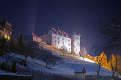 Castle of Gruyeres at night Royalty Free Stock Photos