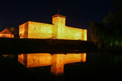 Castle in Gyula at night Stock Photo