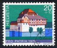 Castle Hagenwil. SWITZERLAND - CIRCA 1978: stamp printed by Switzerland, shows castle Hagenwil, circa 1978 stock photos