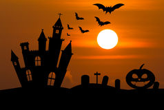 Castle in Halloween night Royalty Free Stock Photos