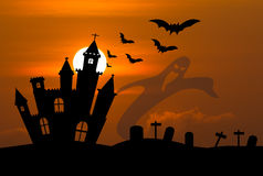 Castle in Halloween night Royalty Free Stock Images