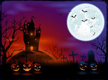 Castle and Halloween pumpkins Royalty Free Stock Photos