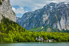 Castle at Hallstätter See mountain lake in Austria Stock Photo