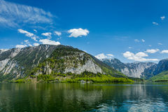 Castle at Hallstätter See mountain lake in Austria Royalty Free Stock Photography