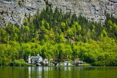 Castle at Hallstätter See mountain lake in Austria Stock Photos