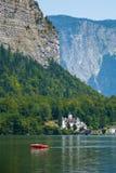 Castle on Hallstatt lake shore Stock Image