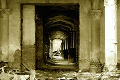 Castle hallway in ruins Royalty Free Stock Image