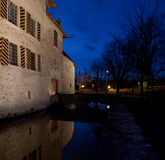 Castle Hallwil. Castle Hallwyl in Switzerland at the night stock images