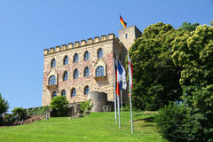 Castle of Hambach. Towering above Neustadt lies Hambacher Schloß (Hambach Castle), which played a dominant role for today's German democracy. It has been Stock Image