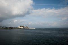 Castle of Hamlet. Danish harbour of Helsingor with Kronborg castle Stock Photos