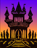 Castle hand made clipart on color background