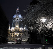 Castle in Hannover at night with light Royalty Free Stock Photo