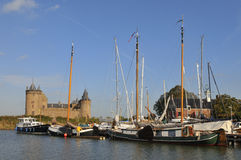 Castle and harbor Muiden in Holland Stock Images