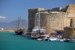 Castle and harbour in Kyrenia, Cyprus. Historic castle and harbour in Kyrenia, Cyprus royalty free stock photos