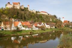 Castle Harburg in Franconia, Germany. Castle Harburg with river in Franconia, Germany stock photos