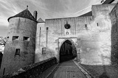 Castle Harburg barbican. The gateway of a knight's castle, the Burg Harburg in Germany. Black-and-white image Royalty Free Stock Images