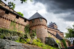 View from Chateau du Haut-Koenigsbourg, Orschwiller - Alsace – France. The castle of Haut-Kœnigsbourg is located on the top of the Stophanberch royalty free stock image
