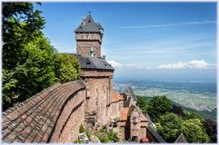 Castle Haut-Kenigsberg in Alsace, France. View from the castle Haut-Kenigsberg, Alsace to the valley and village below Royalty Free Stock Images