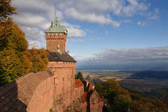 Castle of Haut-Koenigsbourg, Alsace, France. Dramatic Cloudscape. Warm Light Stock Photography